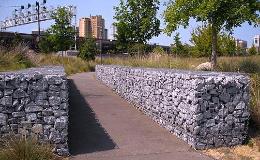 gabion lined walkway