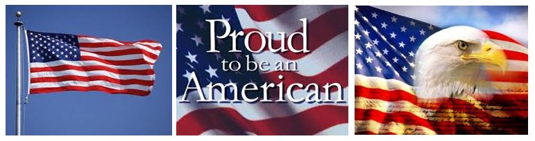 3 photos--American flag, American proud, and eagle