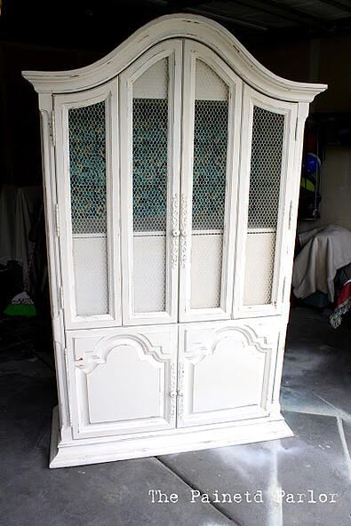 cabinet with wire mesh windows