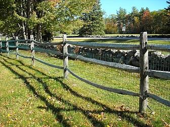 green vinyl wire with post-rail fence