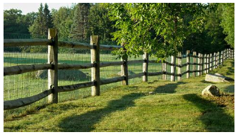 Vinyl coated fence in the countryside