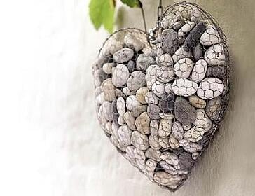 hex mesh heart filled with stones