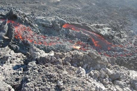 lava flow in barren rock