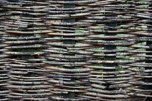 pleated twig fence