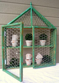 wire enclosed wooden shelf